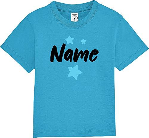 Kleckerliese Nicki - Camiseta de Manga Corta para niña, diseño con Texto Personalizado Azul Turquesa 18-23 Meses