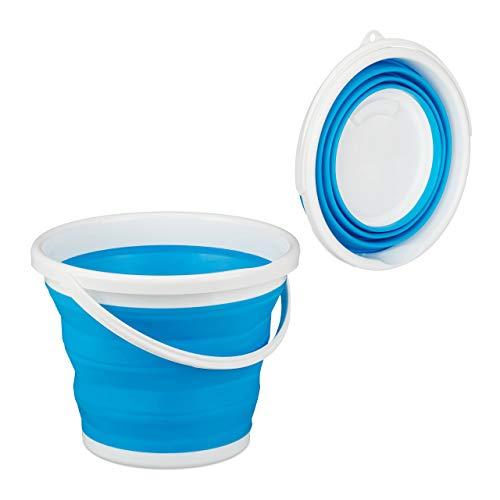 Relaxdays Faltbarer Eimer, 10 l Putzeimer, platzsparend zusammenklappbar, Falteimer für Haus, Auto und Camping, blau, 1 Stück