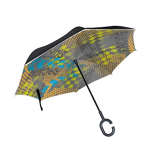 Paraguas invertido de Doble Capa, a Prueba de Viento, para Exteriores, para Lluvia, Sol, para automóvil, con Mango en Forma de C, diseño Abstracto sin Costuras, Flechas, Carreras de neumáticos