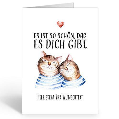 Große Ich Liebe Dich XXL-Karte zum Aufklappen (DIN A4) PERSONALISIERT - Katzen Es ist so schön, dass es Dich gibt - mit Umschlag/Edle Design Klappkarte/Geburtstag/Valentinstag/Extra Groß/Gutschein