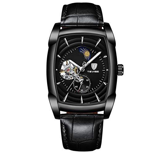 QZPM Hombre Automático Mecanico Relojes Acero Inoxidable Impermeable Analogico Luminosa Cronógrafo Moda Cuero Business Relojes,Negro