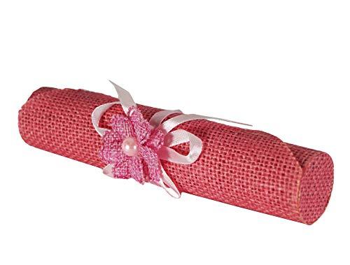 takestop® Set van 6 snoepjes bonnière pergola jute roze bloemen uitnodigingshouder gastgeschenk voor confetti party geboorte verjaardag PROMESSA