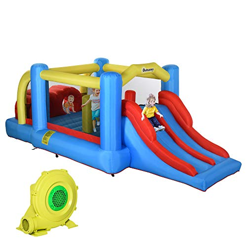 Outsunny Kids Bounce Castle House Inflatable Trampoline Slide Climbing Wall 3 in 1 with Inflator for Kids 3-12 Years Old 18.4' x 8.4' x 6.2'
