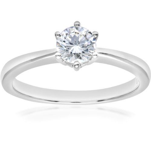 Naava GIA Certified Diamond 18ct White Gold Solitaire Engagement Ring - Size L PR07687W-G044GVS2-L