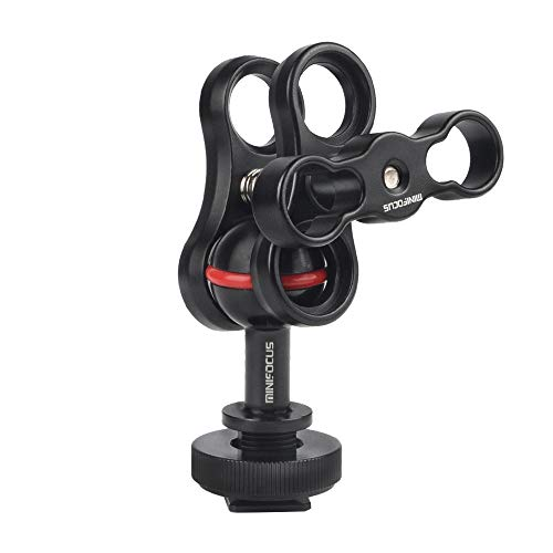 MINIFOCUS 1 Ball Clamp Mount with Cold Shoe Ball Mount Head Base Adapter Connector for Diving Light Arm Underwater Camera Waterproof Housings Case Video/Flash/Strobe Hot Shoes