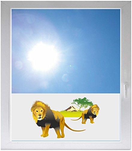INDIGOS UG Sichtschutzfolie Sonnenschutz Glasdekorfolie Fensterfolie mit Motiv satiniert Blickdicht - GME033 - riesiger Löwe Baum Wald Berge Afrika Wüste - 800x500mm
