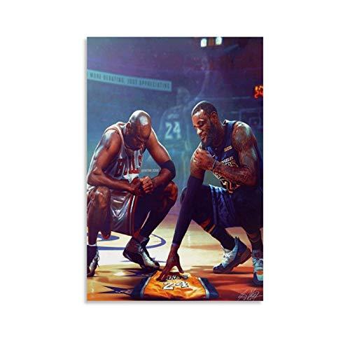 TINGTAI Póster de baloncesto de Lebron James y Michael Jordan Miss Kobe Bryant con impresión artística decorativa de pared, lienzo para sala de estar, dormitorio, 50 x 75 cm