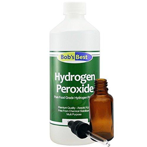 Peróxido de hidrógeno al 3% de grado alimenticio, 500 ml, con botella cuentagotas de cristal ámbar de 30 ml