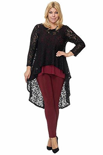 by Maltex24 - Damen Plus Size Fashion Highlight Vokuhila Tunika Überwurf aus Spitze Übergröße Farbe schwarz, Größe 44/46