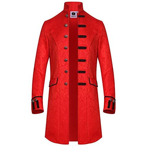 H&ZY Men Steampunk Vintage Jacket Halloween Costume Retro Gothic Victorian Frock Coat Uniform Red