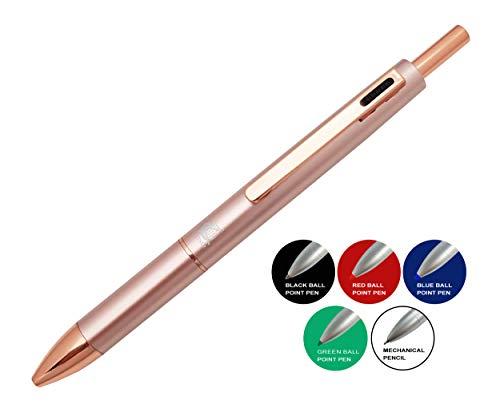 KenTaur Multi-Color Pen In One (Rose Gold) 5 In 1 Multifunction Pen with Black, Blue, Red, Green Ballpoint Pen and 0.7mm Mechanical Pencil - Uses D1 Refills