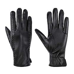 MaoXinTek Winter Handschuhe Eleganz Damen Warm Kaschmirfutter Touchscreen Lederhandschuhe Casual Winddicht Outdoor Sports Gloves Für Fahren Radfahren Texting Schwarz