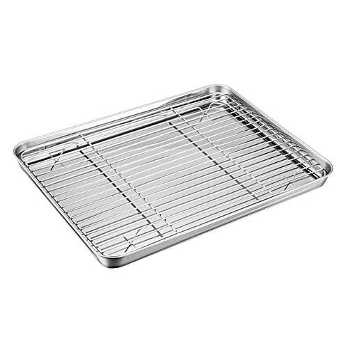 TEAMFAR Backblech mit Abkühlgitter, Edelstahl Backform Ofenschale und kuchengitter Auskühlgitter, 32x25x2,5cm, gesund & ungiftig, leicht zu reinigen und spülmaschinenfest
