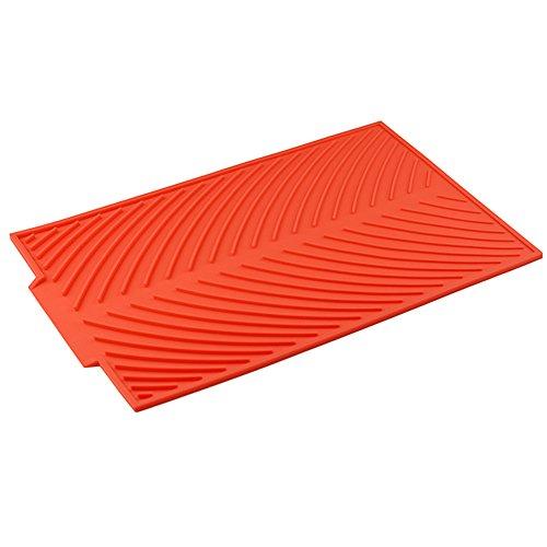Escurreplatos plegable de silicona para cocina, alfombrilla de secado de platos, accesorio para fregadero, aislamiento térmico, antideslizante, rectangular, 39 x 25 cm rosso