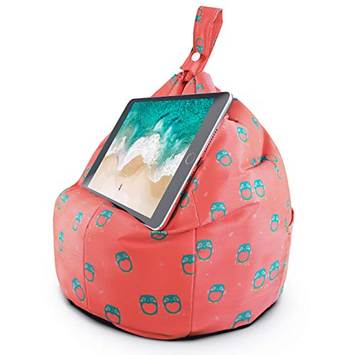 Planet Buddies Tablet & iPad Stand, Cushion Tablet Holder, Ideal for iPad, Samsung, Huawei or any Tablet Up to 12.9 inches, Two Pockets for Storage, Ergonomic Design - Pink Owl