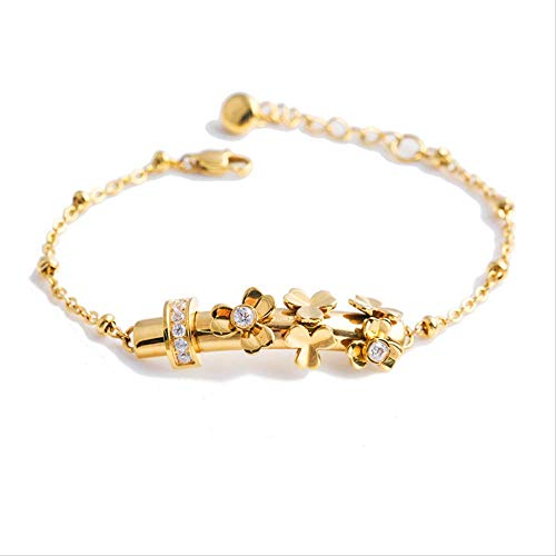 HAKJ<YT Nieuwe Goud Camellia Flute Ring Diamanten Armband Dames Titanium Staal Armband Sieraden