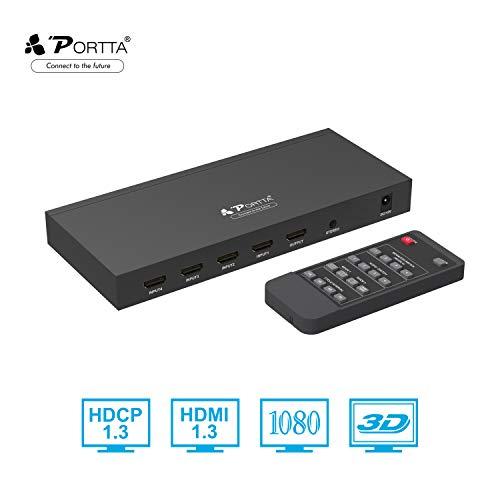 Portta HDMI Switch 4x1 Quad Multi-Viewer mit Nahtloser Seamless Umschalter Unterstützung 720p/1080p Scaler + Stereo Extractor + IR-Steuerung + 5 Verschiedene Anzeigemodi für Xbox360 PS4 Notebook HDTV