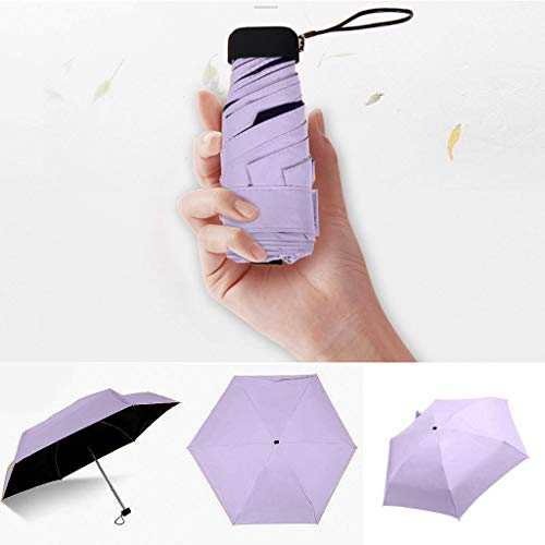 DJFEI Mini Regenschirm, Anti-UV Mini Reise Regenschirm, Ultra Light Mini Kompakte Taschenschirm Reise Regenschirm, Faltbarer Taschenschirm für Frauen Mädchen Kinder (Lila)