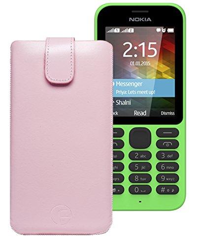 Original Favory Etui Tasche für / Nokia 215 Dual SIM / Leder Etui Handytasche Ledertasche Schutzhülle Hülle Hülle Lasche mit Rückzugfunktion* in Rosa