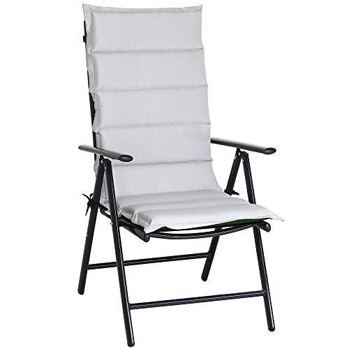 Detex 6er Set Stuhlauflage 120x45x5cm Stuhlkissen Polster Auflage Hochlehner Sitzauflage Garten Wendekissen Grau Grün