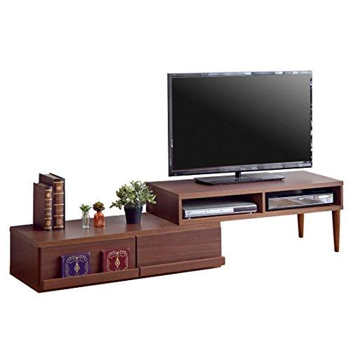 タンスのゲン 【完成品】 伸縮式 テレビ台 幅105~200cm 木製 ローボード スライド式