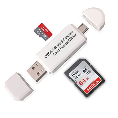 SD Card Reader, Ahomal USB OTG Adapter 2.0 Micro Portable Memory Card Reader for SD, Micro SD, SDXC, SDHC, Micro SDHC, Micro SDXC (White)