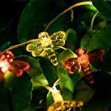 ZNYCYE Solar Dragonfly String Lights 6.5ft 20 LEDs Fairy String Lights Waterproof Outdoor String Lights for Garden Patio Gate Yard Indoor Bedroom Party Wedding (Multicolor)