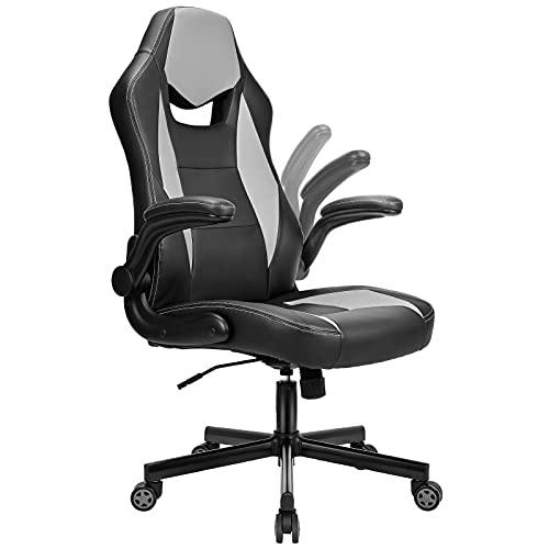 BASETBL Bürostuhl Gaming Stuhl Racing Stuhl mit großer Sitzfläche ergonomischem Design hochklappbarer Armlehne Wippfunktion Höhenverstellung 150kg belastbar Grau