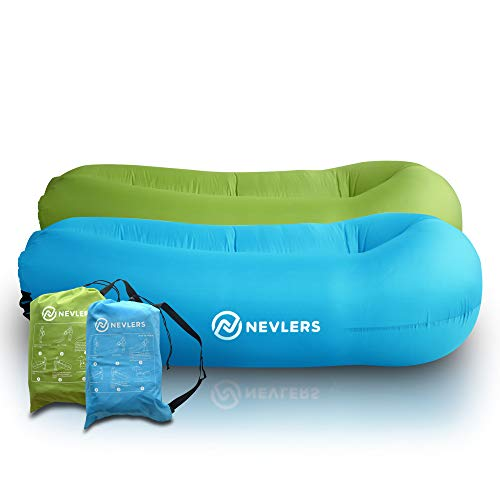 Nevlers 2 Pack Inflatable Lounger with Side Pockets and Matching Travel Bag - Blue & Green - Waterproof and Portable - Great and Easy to Take to The Beach, Park, Pool, and as Camping Accessories