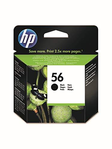 HP 56 C6656AE, Negro, Cartucho de Tinta Original, compatible con impresoras de inyección de tinta HP Deskjet 5550, Photosmart 7350, 7150, 7345, Officejet 6110, 5110