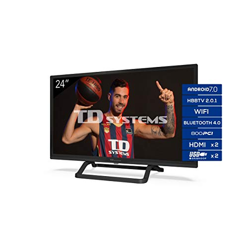 "TD Systems K24Dlx11Hs - Televisor 24"", Android 7.0 y Hbbtv, 800 Pci Hz, 2X Hdmi, 2X Usb. Dvb-T2/C/S2, Modo Hotel, Negro"