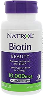 Natrol Biotin Beauty Tablets, Promotes Healthy Hair, Skin and Nails, Helps Support Energy Metabolism, Helps Convert Food Into Energy, Maximum Strength, 10,000mcg, 100 Count