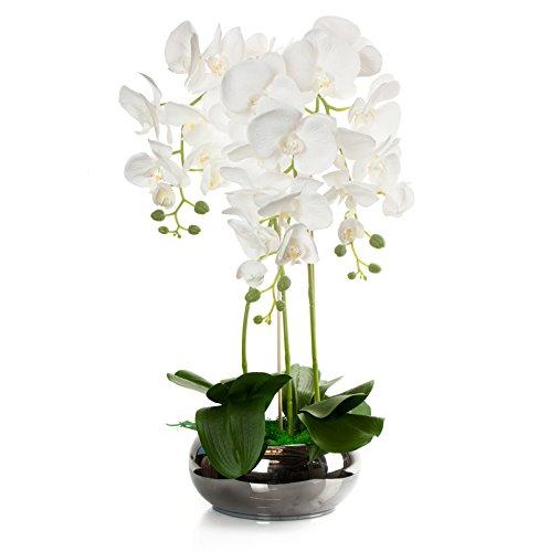 First künstliche Orchidee Gesteck im Keramik Übertopf | Gesamthöhe: ca. 67cm // Gesamtbreite: ca. 43cm | Stoffblüten | Gesteck Orchideen Kunstpflanze Arrangement Kunstblumen Tischdeko