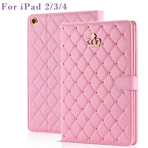 Topwin iPad 2/3/4 Case,Crown Design Bling Diamond Cute Elegant Premium PU Leather Smart Auto Sleep/Wake Stand Case for Apple for Apple iPad 2, iPad 3 & iPad 4th Gen with Retina Display (Pink)