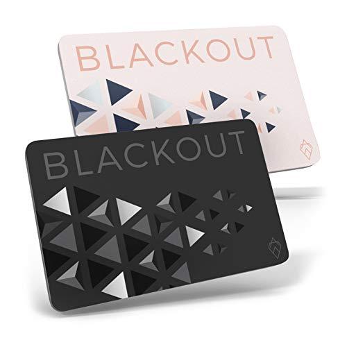 Blackout de AKIELO – Tarjeta de Bloqueo RFID Ultrafina (2 Piezas) – Solución Simple para la Protección de Tarjetas de Crédito Contactless – Protector de Tarjetas RFID para Cartera o Bolso