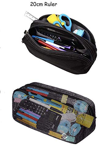 Pencil Case Large Pencil Pouch with Double Zippers for Middle High School Collage Office Student Boys Girl Adults 60 Pens Black by Only Warm Photo #2