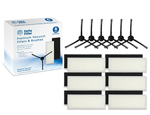 Fette Filter - Robot Vacuum Cleaner Filter & Side Brush Kit Compatible for ILIFE. Compare to Part #A6 A4 A4s. (Pack of 6)