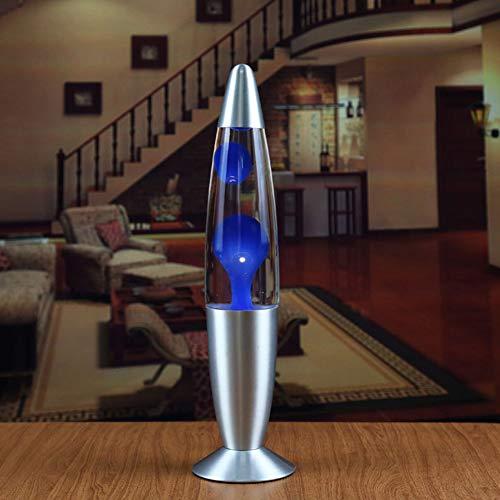 TEQIN Metallbasis Wachs Lava Lampe Nachtlicht für Schlafzimmer Dekor Europäische Verordnung Blaues Wachs