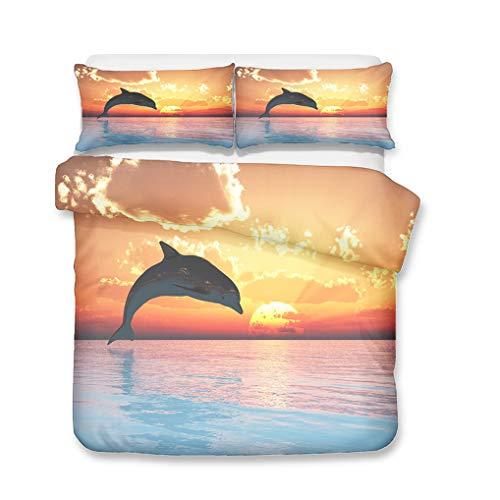 HNHDDZ Sunrise Sunset Bedding Set Duvet Cover Pillowcase 3D Dolphin Coconut Tree Ocean Waves Sunlight Golden Yellow Boy Girl (Style 1,Single 135x200 cm + 50x75 cm * 1)