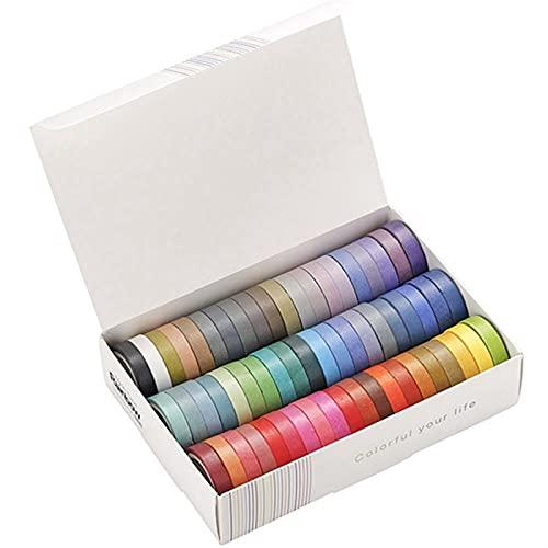 GXSLT Durable 60 PCS/Lot Rainbow Color Sólido Cinta Adhesiva Decorativa Masking Washi Cinta Set DIY Scrapbooking Etiqueta Etiqueta Etiqueta de papelería Conveniente