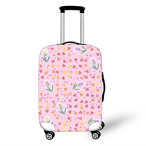 Surwin 3D Cubierta de Equipaje Protectora Suave Elástico Anti-Polvo Lavable Funda de Maleta Luggage Cover con Cremallera Viaje Cubierta de la Caja (Tulipán Rosa,L (26-28 Pulgadas))