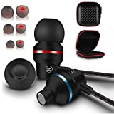 Metal Wired Earbuds with Microphone and Case Extra Ear Buds Best for pc ipad Phones laptops Running Earphones Sturdy Noise Cancelling Headphones Heavy Duty Durable Cord Wire Tangle Free Good bass