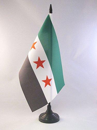 AZ FLAG TISCHFLAGGE FREIE SYRISCHE Armee 21x14cm - SYRIEN TISCHFAHNE 14 x 21 cm - flaggen
