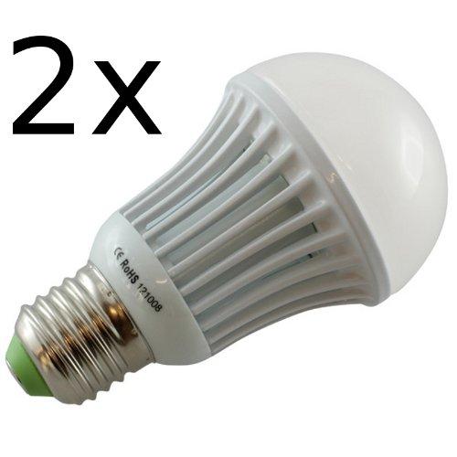 OTL lot de 2 ampoules lED e27 85–265 v/9 w avec 820 lm 3000 k-abstrahlwinkel aluminium/lumière blanc chaud e27 éclairage 160°