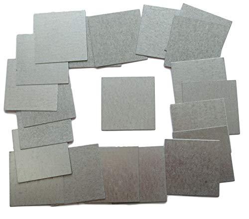 25 placas cuadradas de acero galvanizado de 45 mm, de 0,5 mm, 45 x 45 mm, para fijaciones, manualidades, talleres, chapa de metal