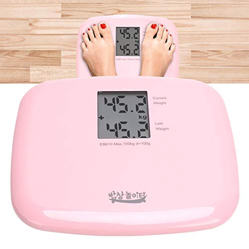 Naroote Báscula de Peso, portátil 150 kg Báscula de Pantalla LCD de Cuerpo de Peso Digital eléctrico Inteligente Báscula de Alta precisión