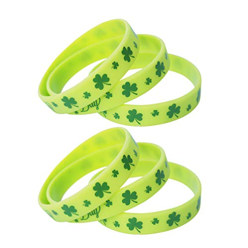 Amosfun 24 Stücke Kleeblatt Armband Silikonarmband Gummiarmbänder Glücksarmband Silikon Armbänder Armreif für St. Patricks Day Zubehör Kostüm Irisches Party Mitgebsel Spielzeug