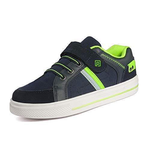 DREAM PAIRS Little Kid Boys' 151014-K Navy Neon Green School Loafers Sneakers Shoes - 1 M US Little Kid
