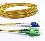 Elfcam Cable de Fibra Óptica LC/UPC a SC/APC Monomodo Duplex OS2 9/125µm, 15M
