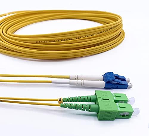 Elfcam Cable de Fibra Óptica LC/UPC a SC/APC Monomodo Duplex OS2 9/125µm,...